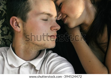 happy couple faces having fun on a summer picnic, tender feelings, selfie - stock photo
