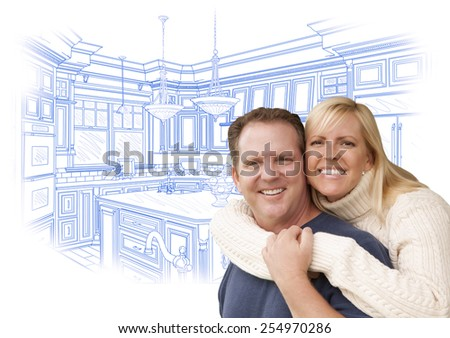 Happy Couple Hugging with Custom Kitchen Drawing Behind on White. - stock photo