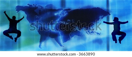 happy couple jumpingon an abstract map of the world - stock photo