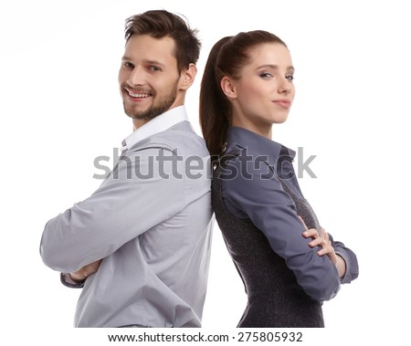 happy couple love smiling embracing, man and woman smile looking at camera, isolated over white background - stock photo