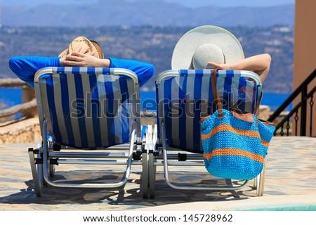 Happy couple on beach vacation  - stock photo