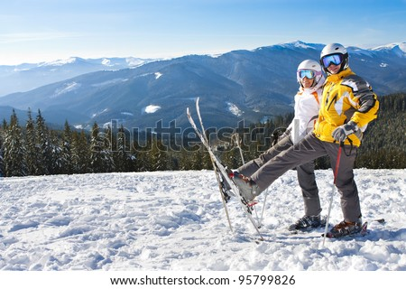 happy couple on ski vacation