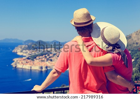 happy couple on summer vacation in Europe - stock photo