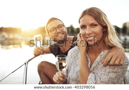 Happy Couple On Vacation Enjoying the Marina - stock photo