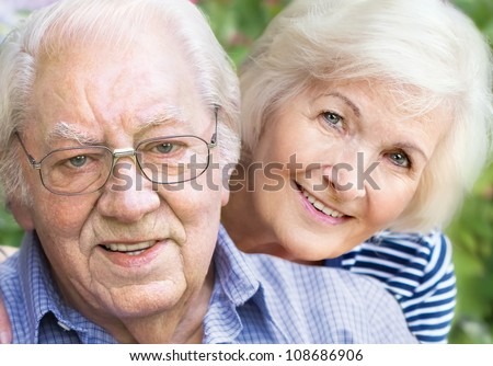Happy couple portrait, closeup - stock photo