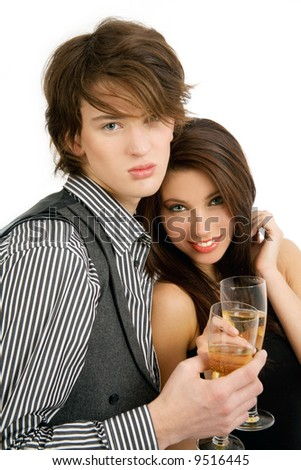 Happy couple with champagne - stock photo