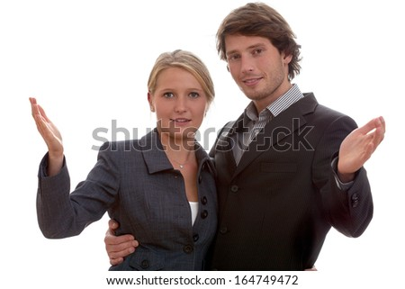 Happy couple working together in the same corporation