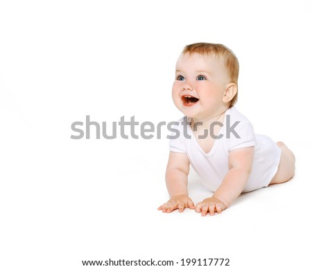 Happy crawling toddler looking up
