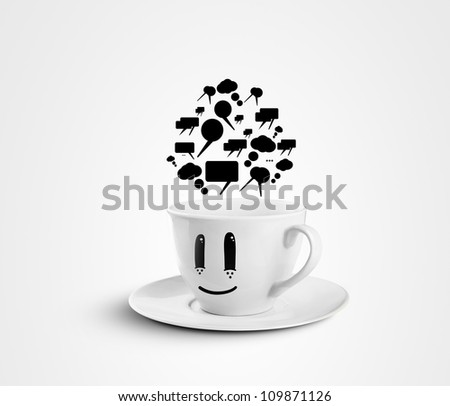 happy cup with speech bubbles on a white background - stock photo