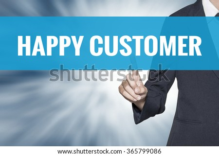 Happy Customer word on virtual screen touch by business woman cyan sky tab - stock photo