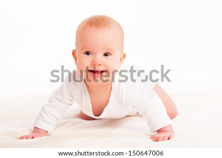 Happy cute baby on a white background