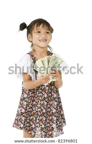 happy cute girl with us dollars, isolated on white background - stock photo