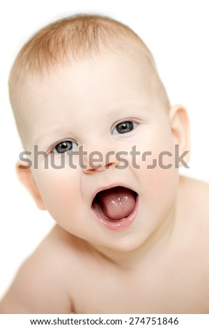 Happy cute laughing baby. Positive smiling  child. Smiling kid. Beautiful smiling cute funny baby - stock photo