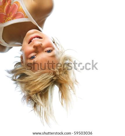 Happy Cute Little Girl having fun. Outdoor. - stock photo