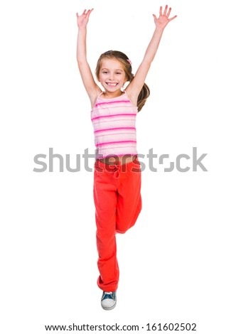 happy cute little girl jump  on a white background - stock photo