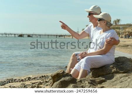 Happy cute senior couple in sunglasses looking a sea - stock photo
