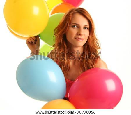 happy cute woman with balloons