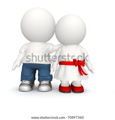 Happy 3D couple hugging - isolated over white - stock photo