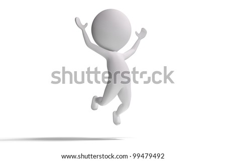 Happy 3d human jumps in the air on white background