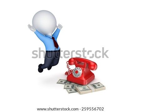 Happy 3d small person near telephone and stack of dollars. - stock photo