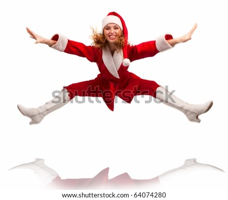 Happy dancing Santa  jumping in the air (model is actually jumping) Isolated on white. - stock photo
