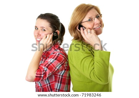 happy daughter and mother talks over mobile phones, isolated on white - stock photo