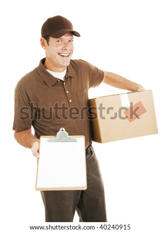 Happy delivery man holding a package and a clipboard with a message for you.  Isolated on white with blank space. - stock photo