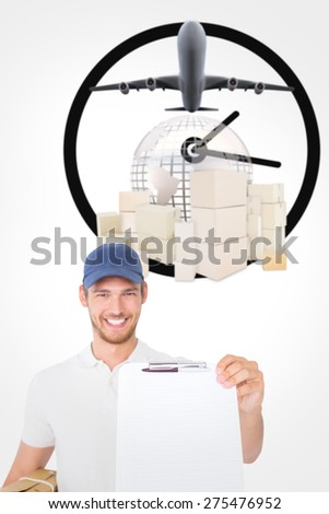 Happy delivery man holding cardboard box and clipboard against logistics concept - stock photo