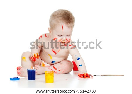 Happy dirty child with paints. Isolated on white background - stock photo