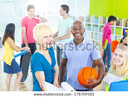 Happy Diverse Students in School - stock photo