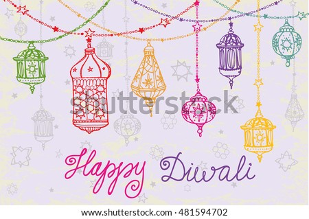 Happy Diwali festival.Traditional hanging lamp in Doodle style.Greeting card with Hand drawing ornament decor.Background.Indian religion holiday Holy diya Shubh Deepawali.Horizontal Illustration
