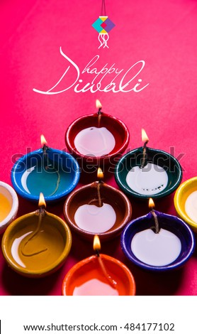 Happy Diwali Or Deepavali Greeting Card Made Using A Photograph Of Diya Oil Lamp