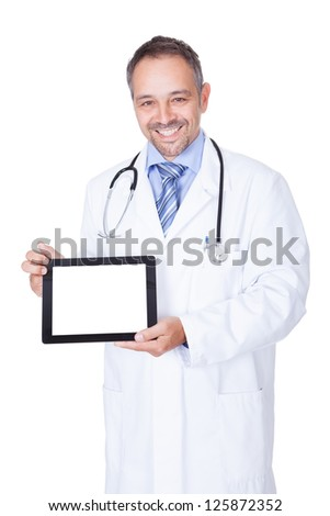 Happy Doctor Holding Blank Digital Tablet On White Background - stock photo