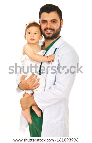 Happy doctor man holding baby boy isolated on white background
