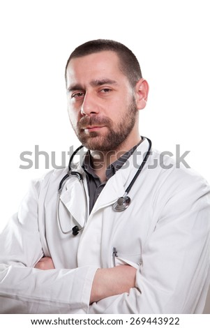 Happy doctor smiling - stock photo