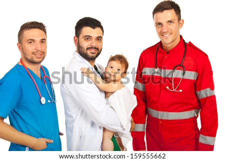 Happy doctors with baby boy isolated on white background - stock photo
