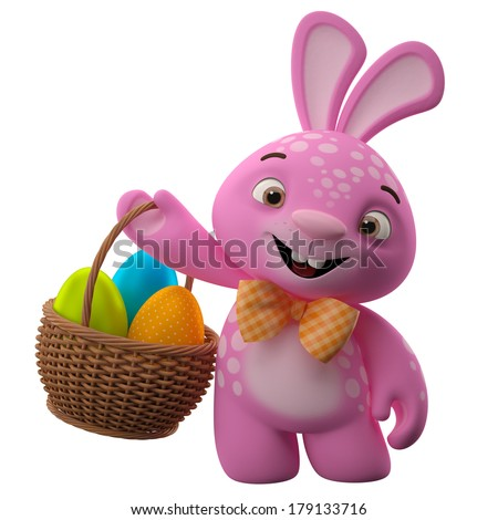 Happy Easter, amazing 3D easter bunny, merry cartoon rabbit, animal character with easter eggs in wicker basket - stock photo