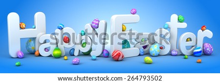 Happy Easter background with eggs - stock photo