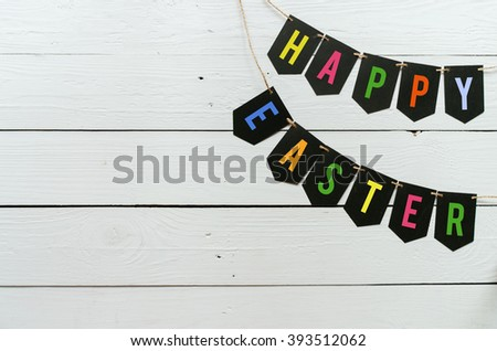 Happy easter banner lettering. Holiday postcard template. Space for text, copy. - stock photo