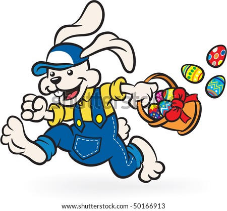 Happy Easter Bunny Hopping With Basket Full Of Eggs