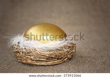 Happy Easter card: Golden Easter egg in the nest on canvas background
