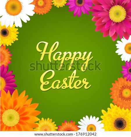 Happy Easter Card With Gerbers - stock photo