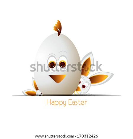 Happy easter cards illustration with easter eggs, easter bunny, - stock photo