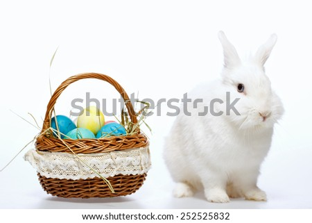 Happy Easter. Closeup image of a cute white bunny sitting by the cane basket full of colored Easter eggs isolated on white background - stock photo