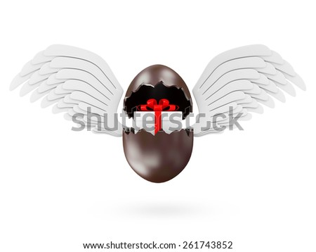 Happy Easter Concept. Broken Chocolate Easter Egg with Gift Box Inside and Angel White Wings isolated on white background