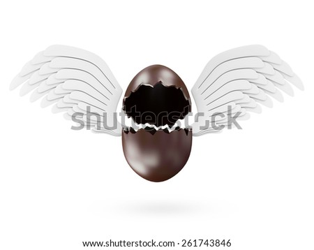 Happy Easter Concept. Empty Broken Chocolate Easter Egg with Angel White Wings isolated on white background