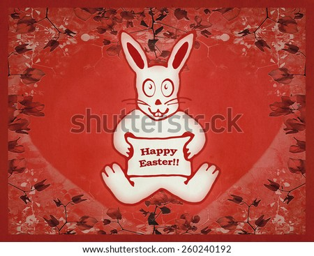 Happy easter design card vintage raster illustration of cute white rabbit with funny expression holding a banner with happy easter letters surrounded by floral white background. - stock photo