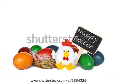 Happy Easter: Easter eggs, Happy Easter text and chicken toy isolated on white background - stock photo