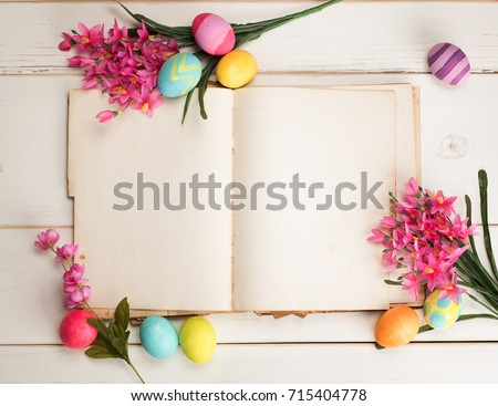 Happy Easter Eggs Card With An Open Book Blank Paper Pages Room Or Space