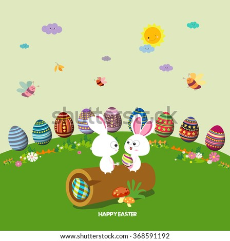 Happy easter. eggs ground round background
